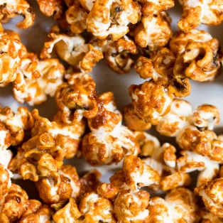 miso maple vegan popcorn close up