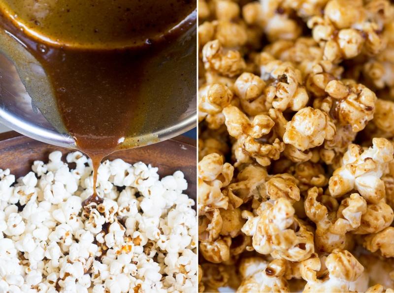 miso maple vegan popcorn coating in caramel