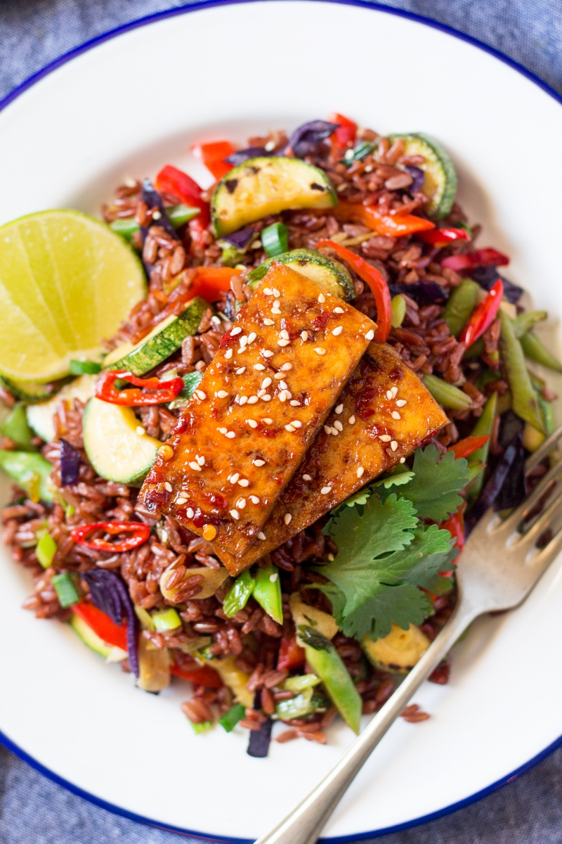 rice stir fry with spicy tofu