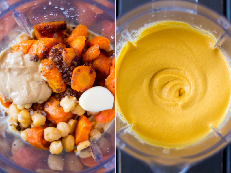 smoky carrot hummus making of