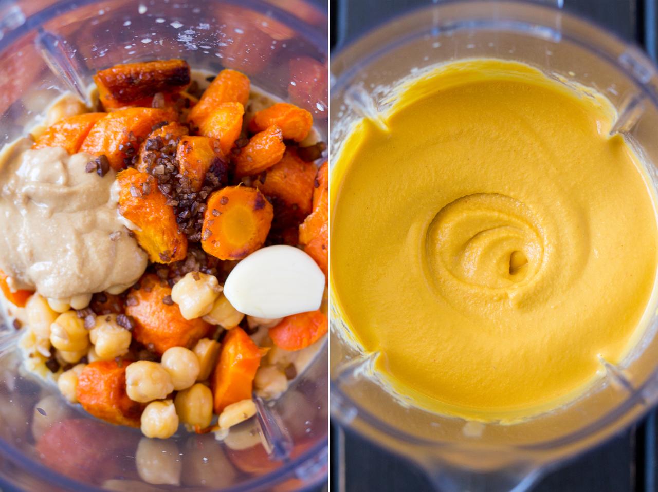 smoky carrot hummus making of