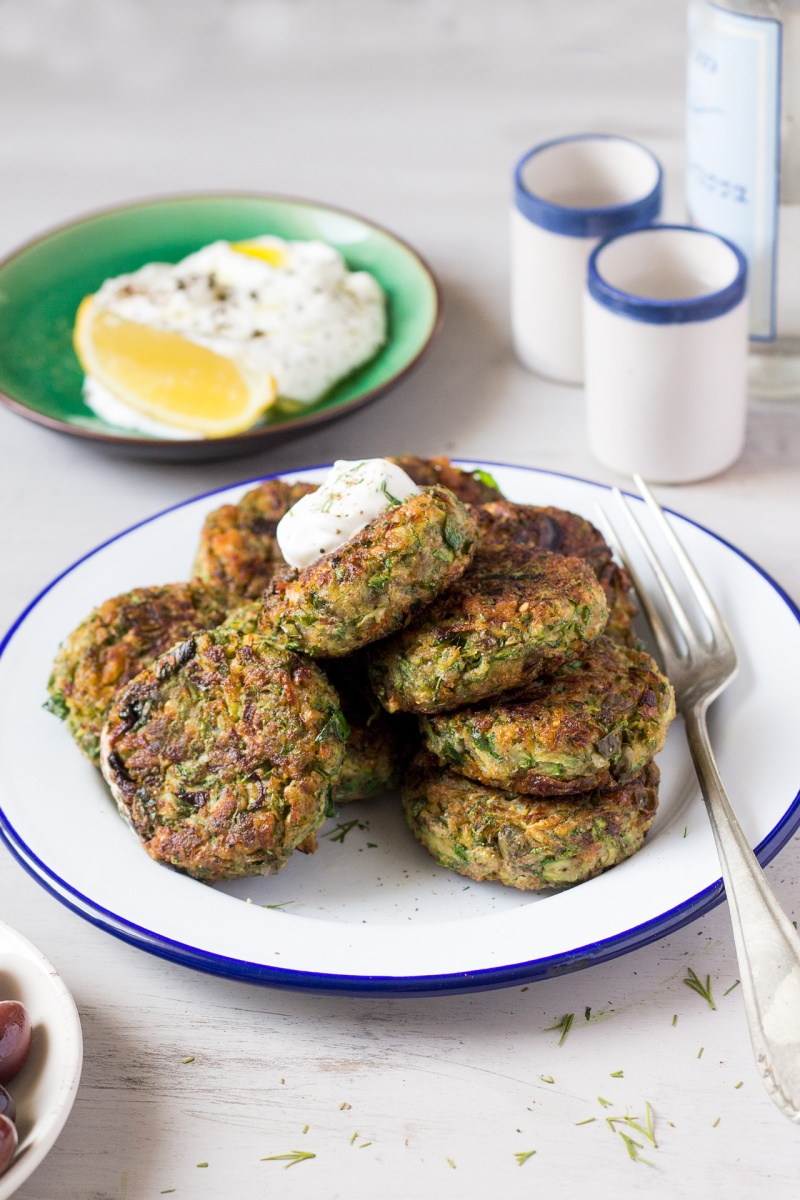 Vegan Greek Zucchini Fritters Lazy Cat Kitchen