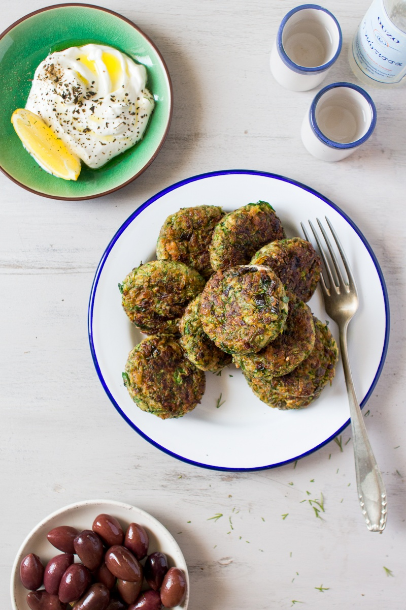 vegan greek zucchini fritters for lunch