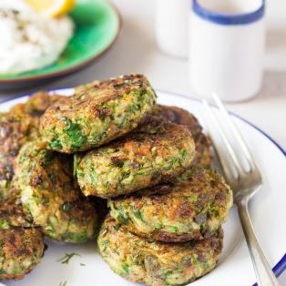 vegan greek zucchini fritters stack