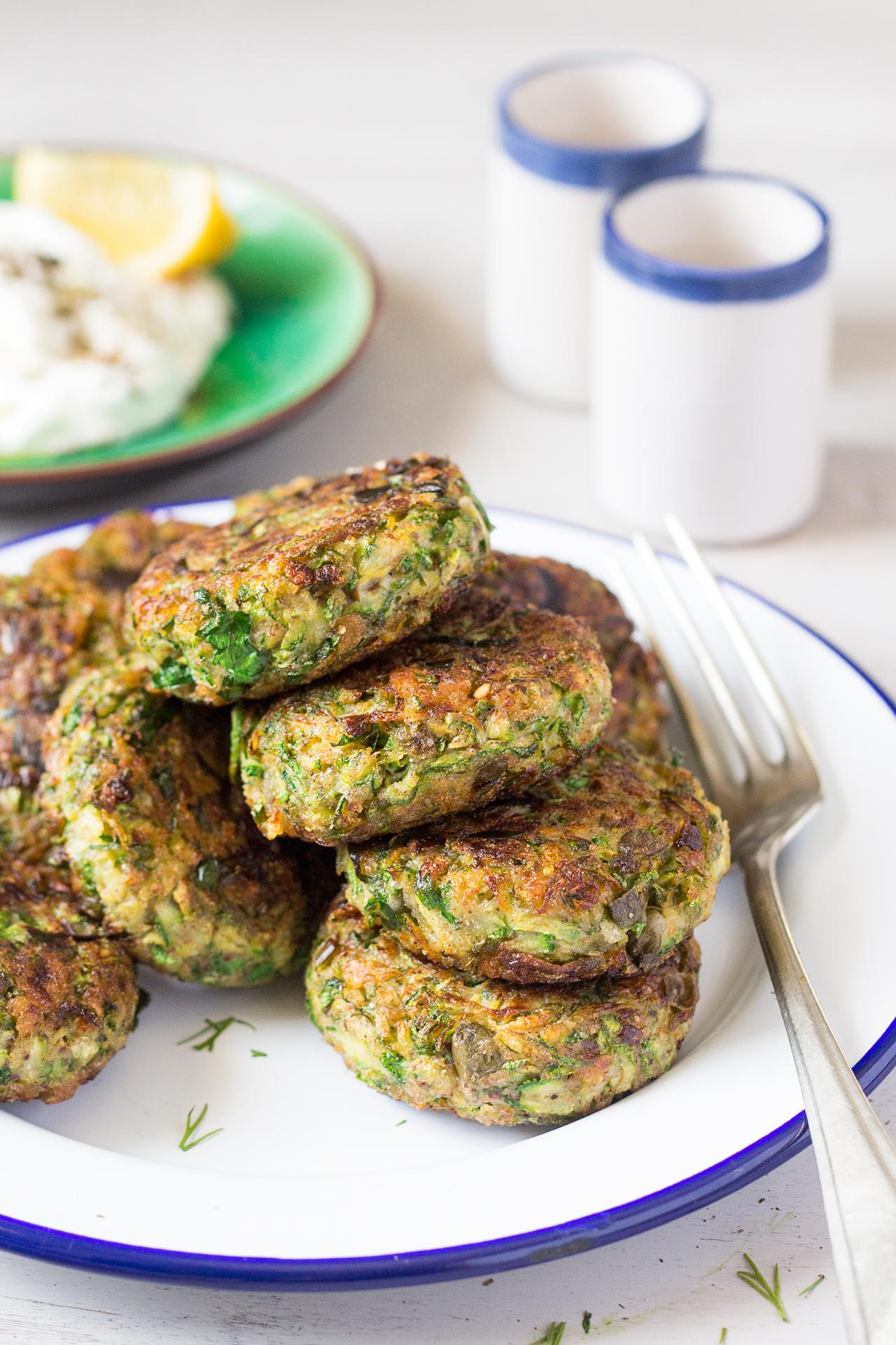 Vegan Greek Zucchini Fritters Lazy Cat Kitchen