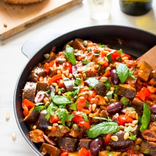 caponata siciliana in a pan