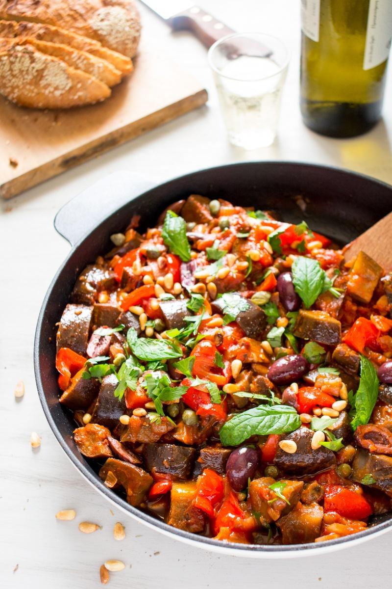 caponata siciliana in a pan