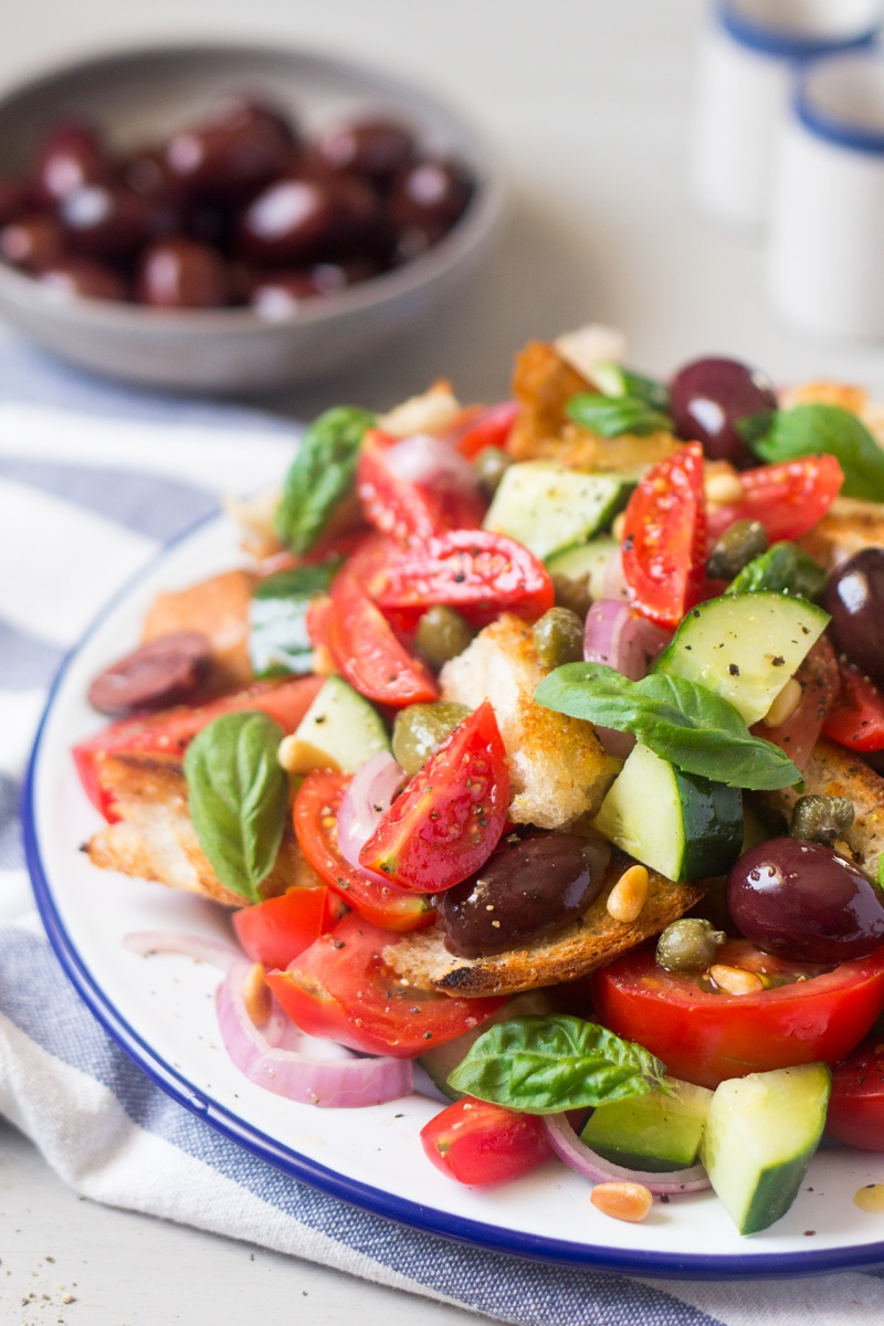 summer Panzanella salad sideview
