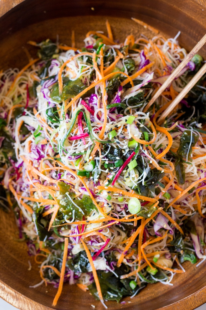 Vegan Rice Noodle Salad With Sesame Dressing Lazy Cat Kitchen