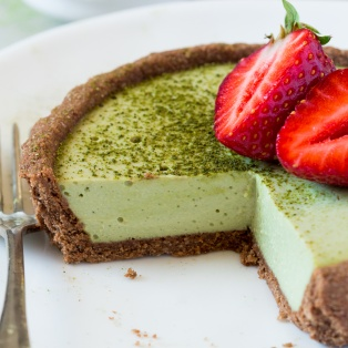 vegan matcha coconut tarts cross section
