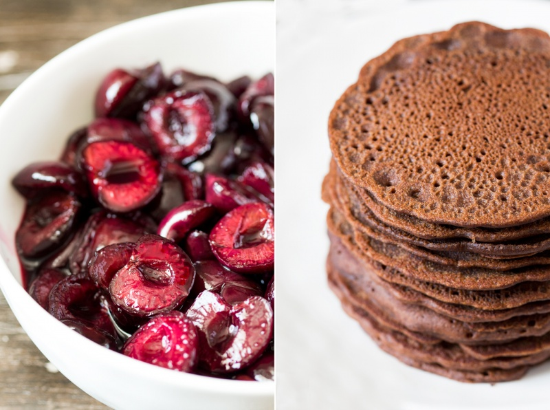 cherries and vegan chocolate pancakes