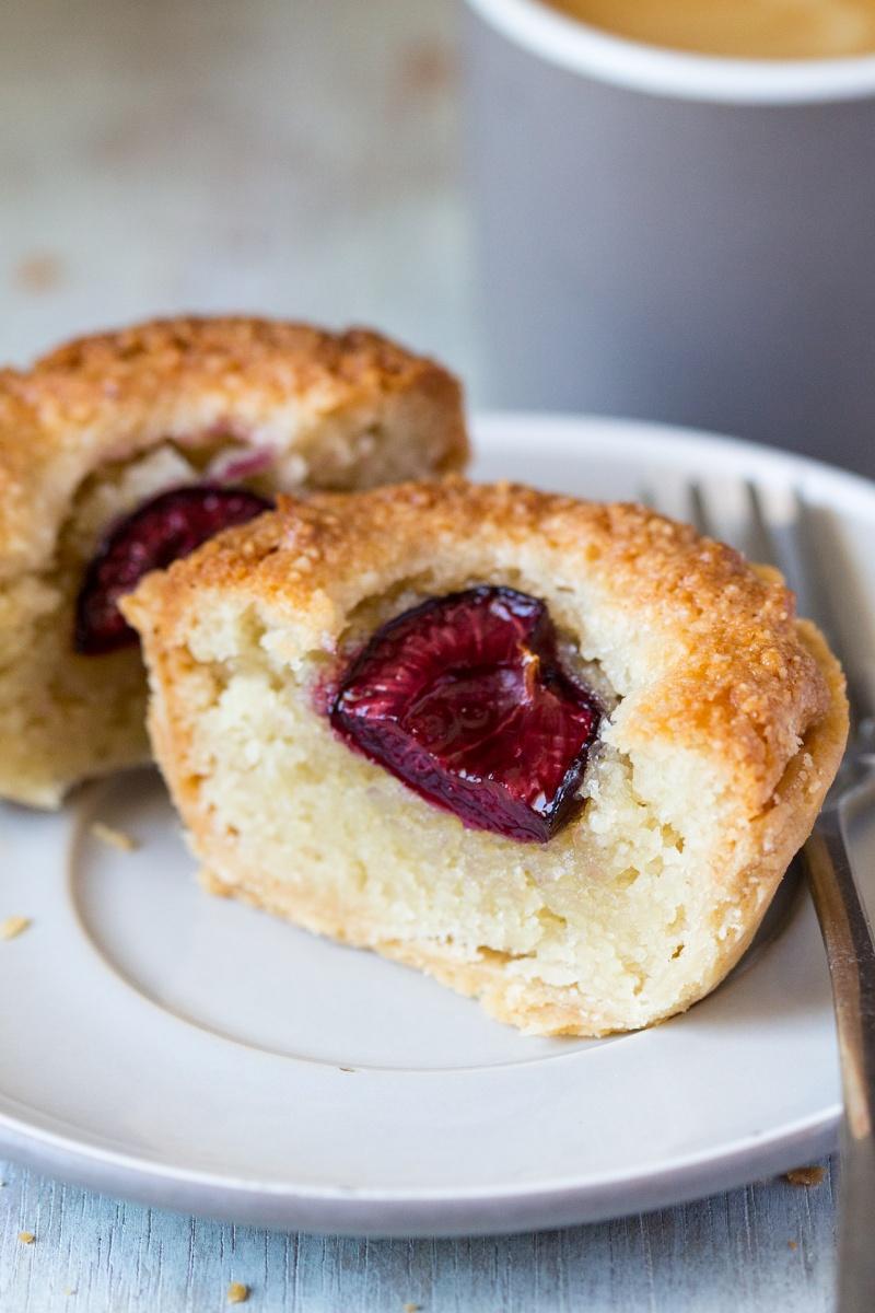Vegan bakewell tarts cross section
