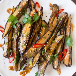 miso glazed aubergine close up