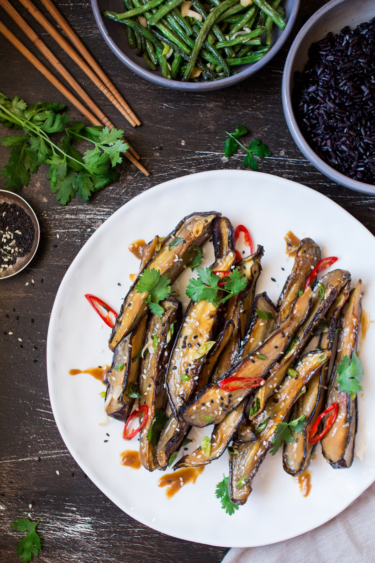 miso glazed aubergine dinner