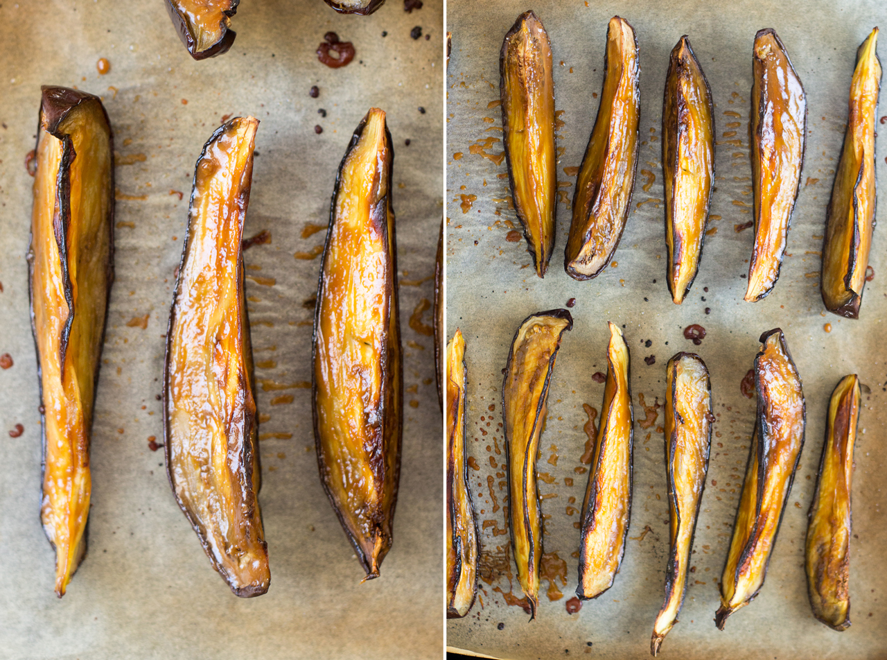 baked aubergine glazed with miso