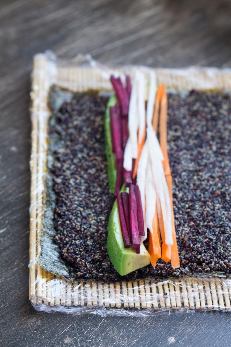 rolling veggie quinoa sushi