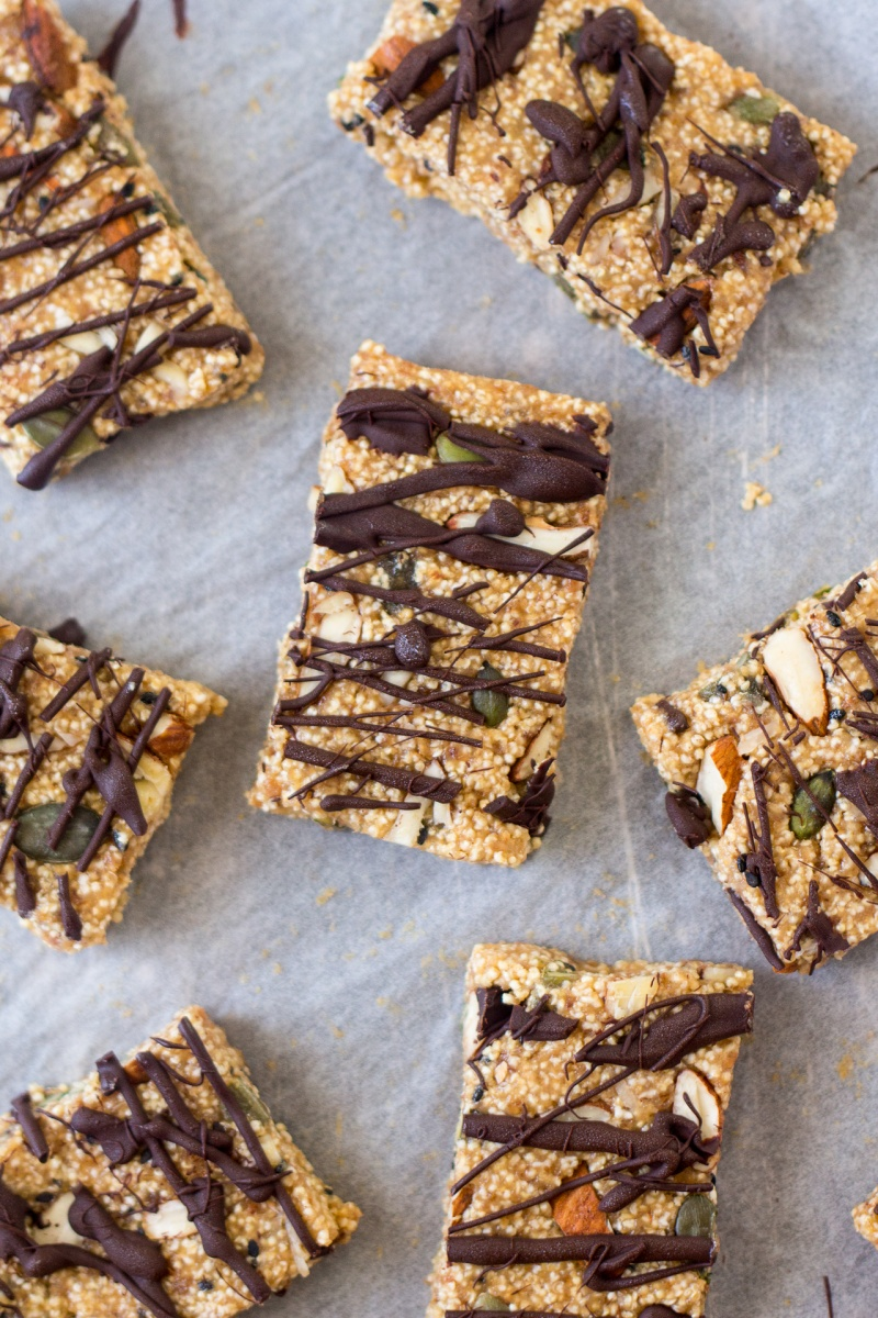 tahini and amaranth energy bars drizzled with chocolate