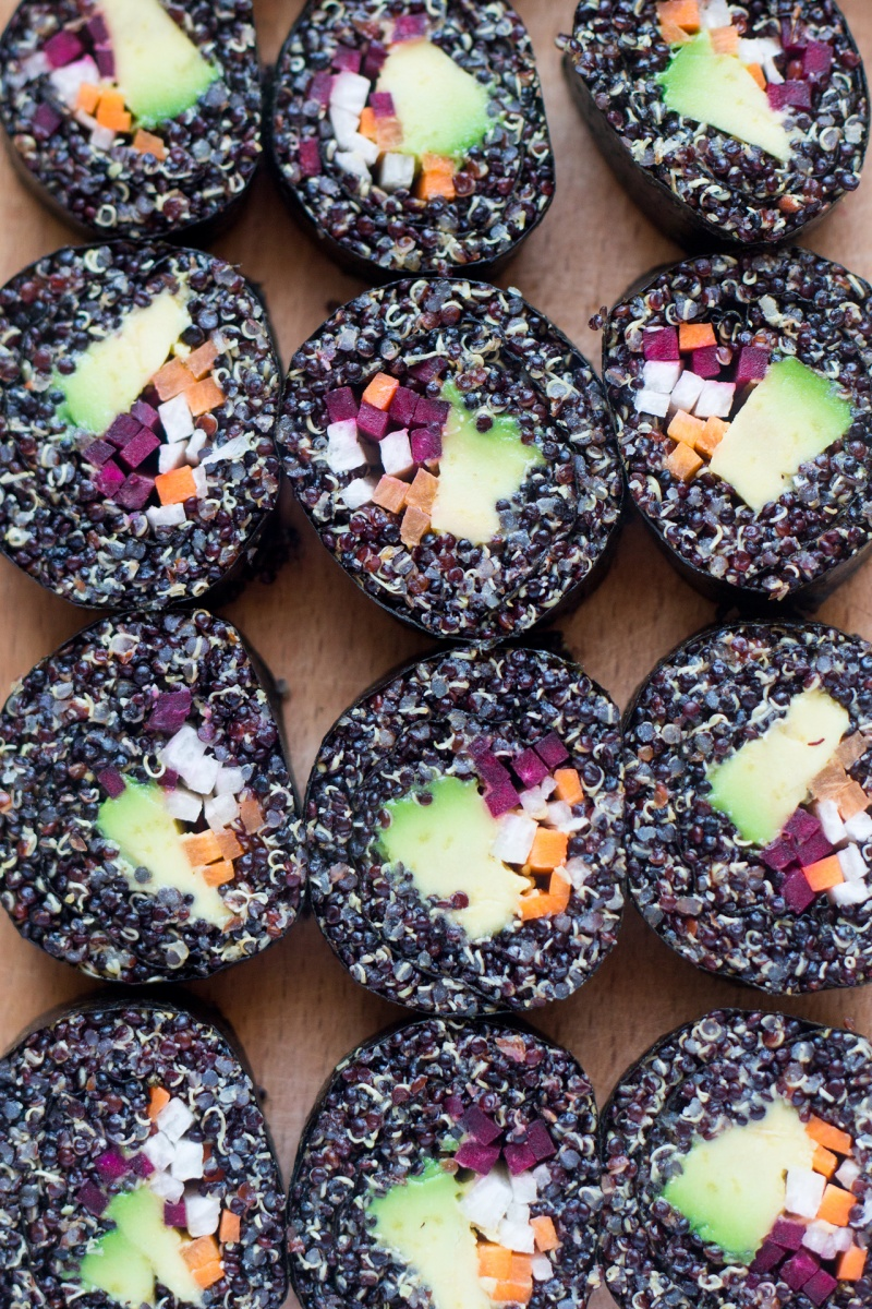 veggie quinoa sushi close up