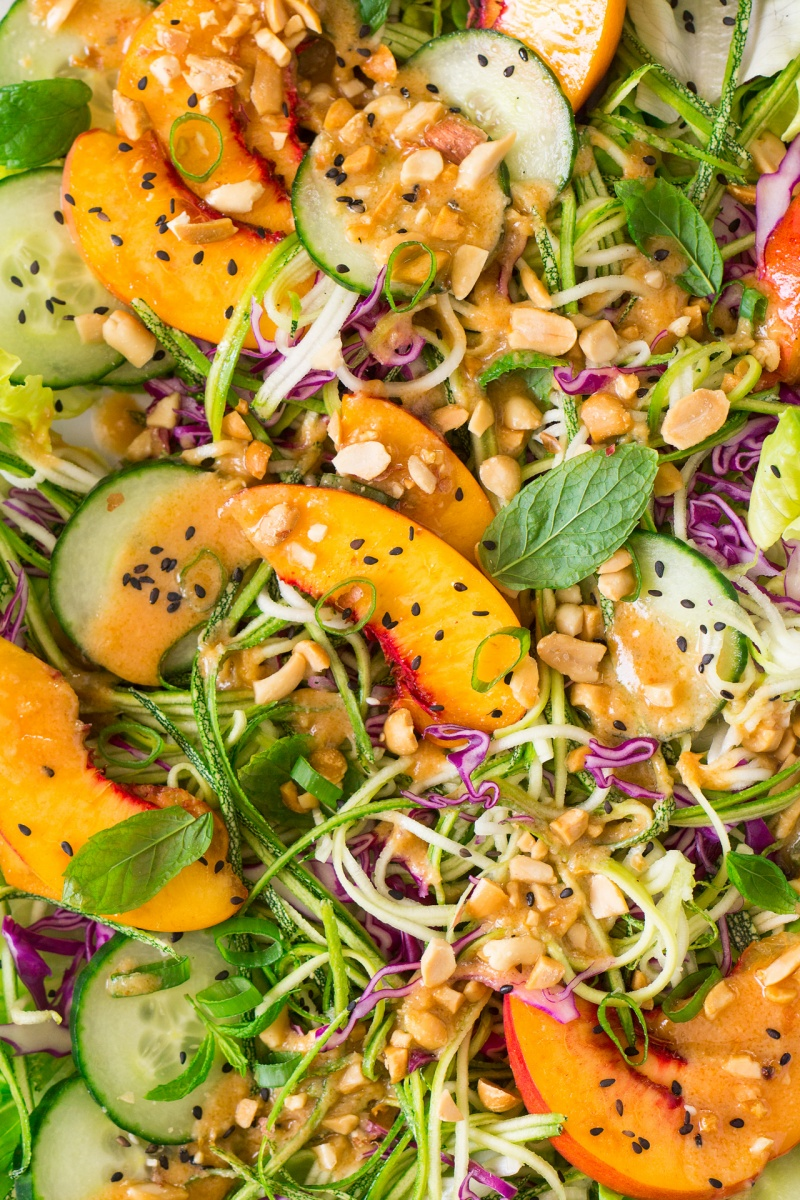 asian zucchini noodles salad vegan miso dressing close up