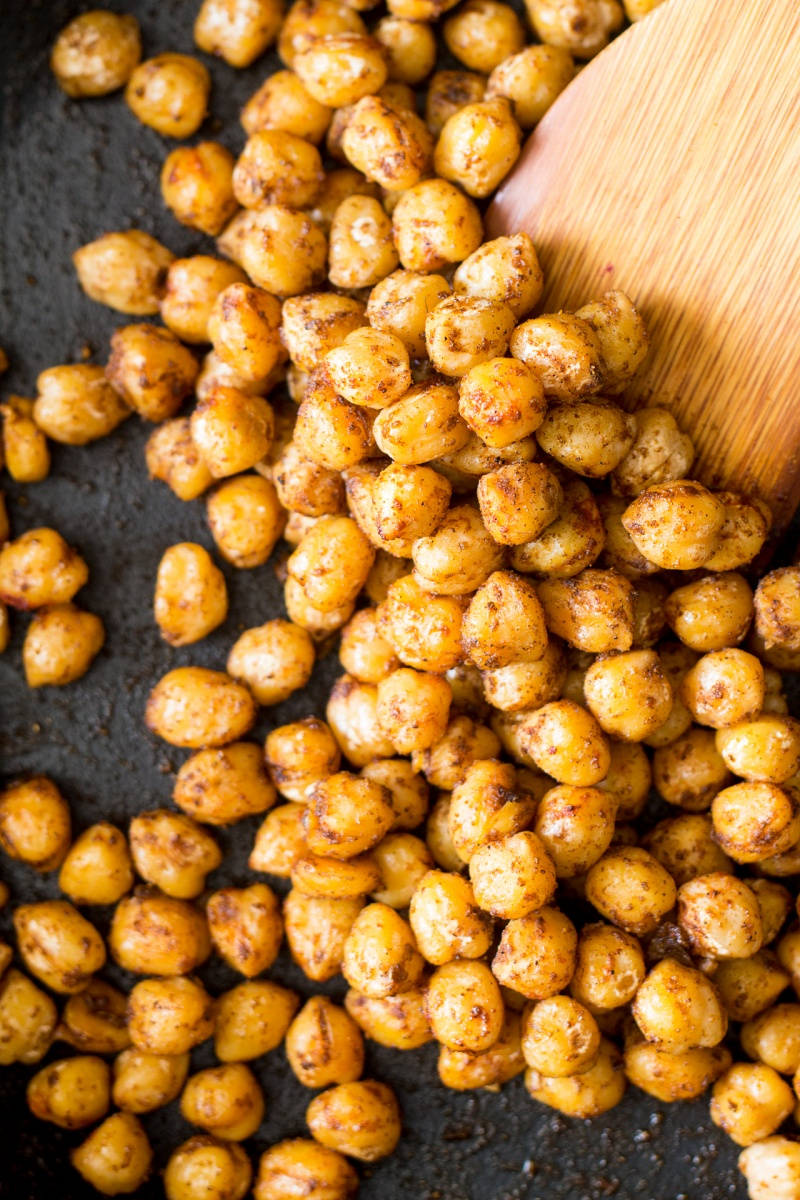 cumin roasted chickpeas for vegan buddha bowl