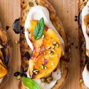 single smoky white bean spread and nectarine crostini