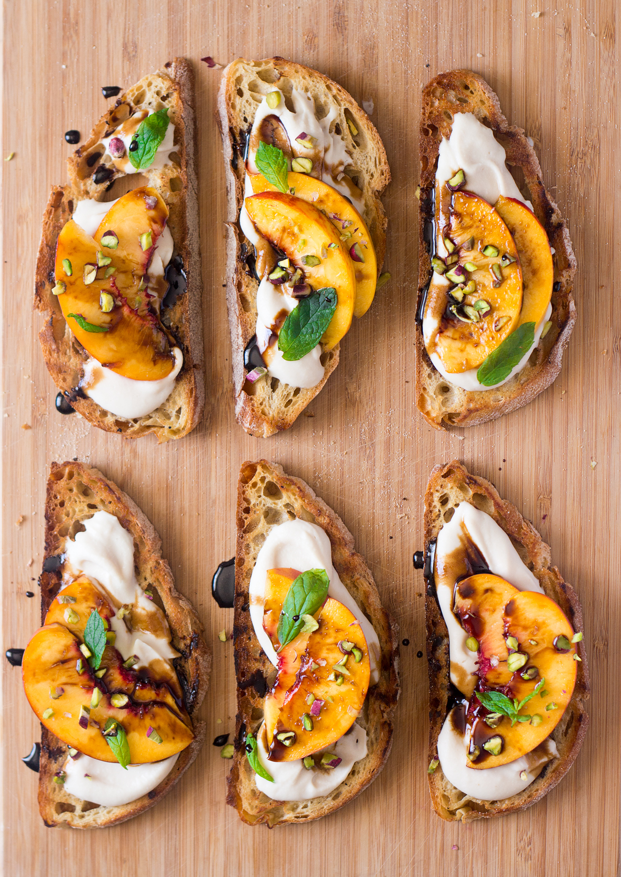 vegan crostini smoky white bean spread top down