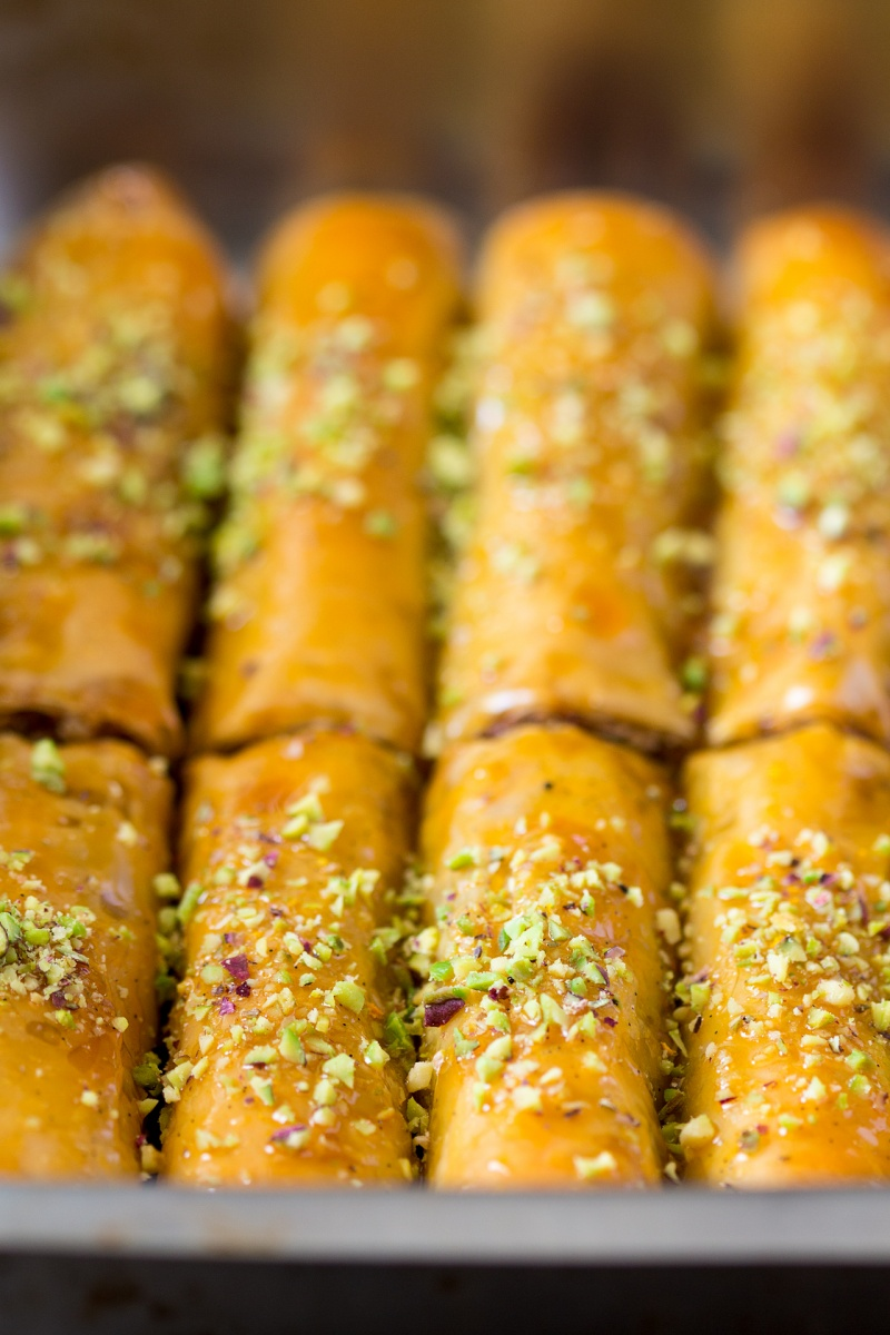 vegan baklava cigars close up
