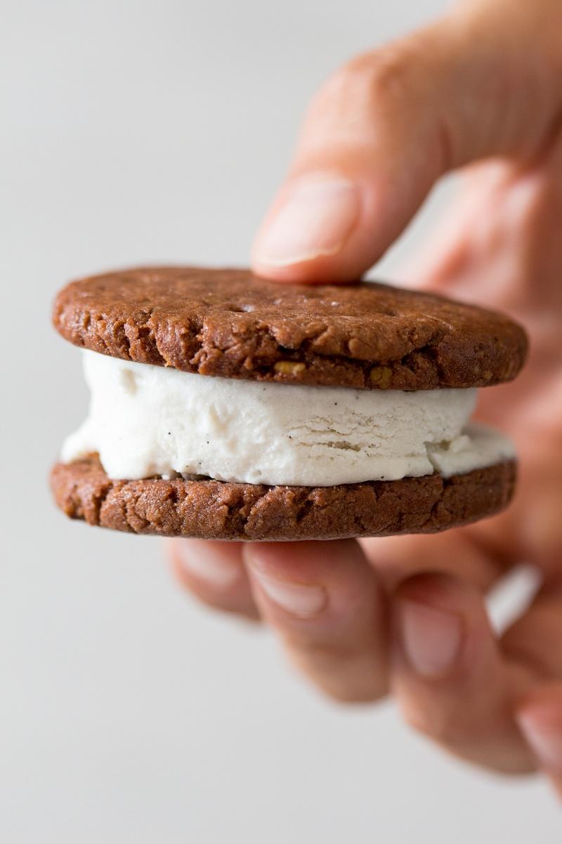 vegan glutenfree icecream sandwich close up