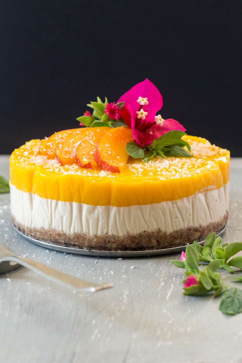 vegan mango ginger cheesecake decorated