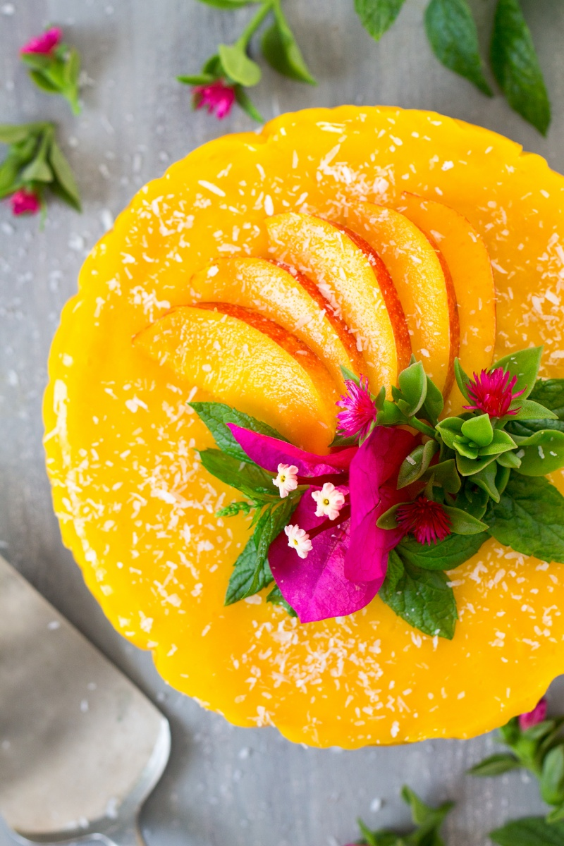 vegan mango ginger cheesecake top down