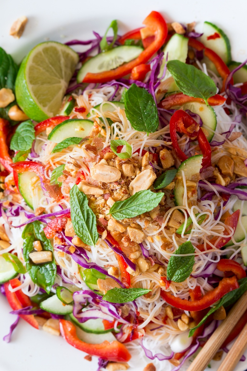 asian vermicelli salad with peanuts close up