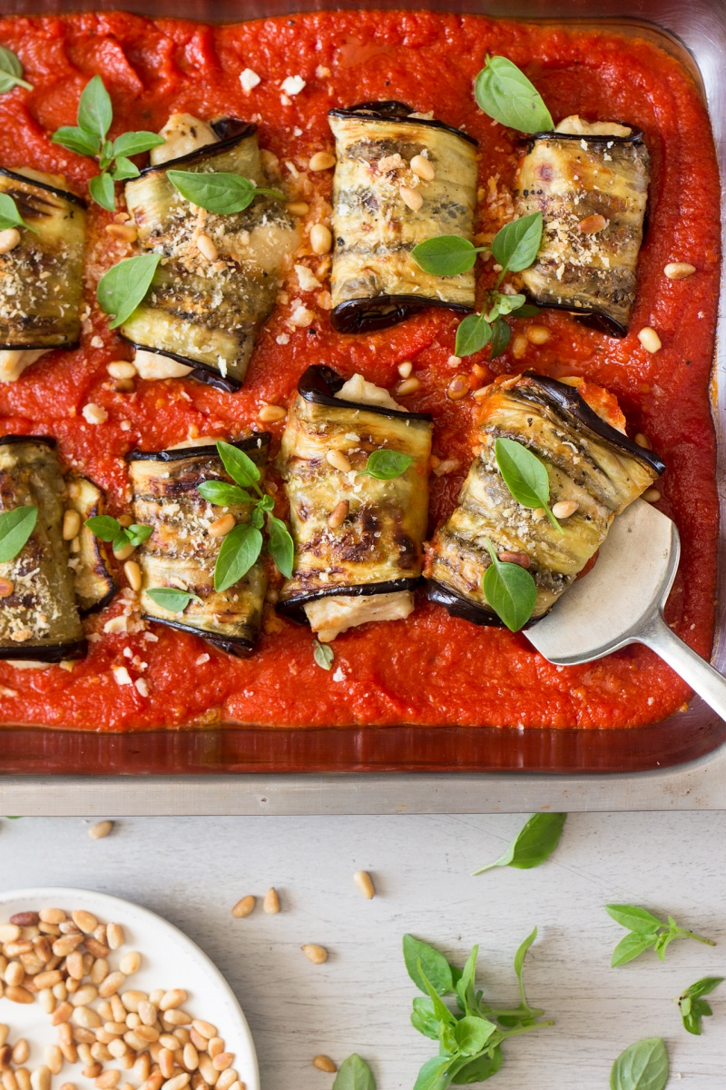 aubergine involtini with vegan ricotta decorating
