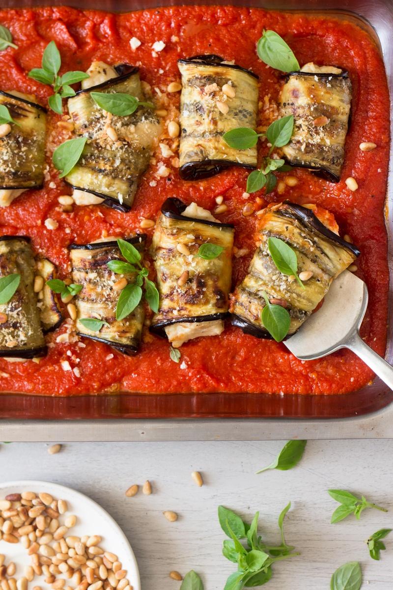 aubergine involtini with vegan ricotta decorating