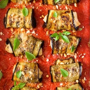 aubergine involtini with vegan ricotta tray