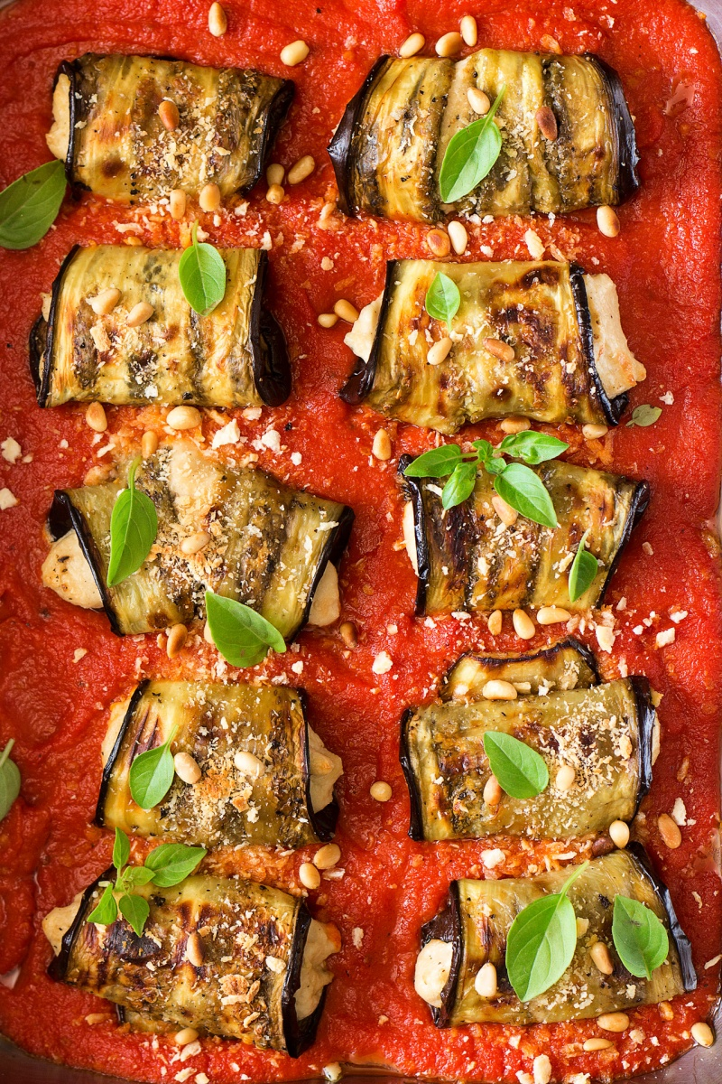 aubergine involtini with vegan ricotta tray
