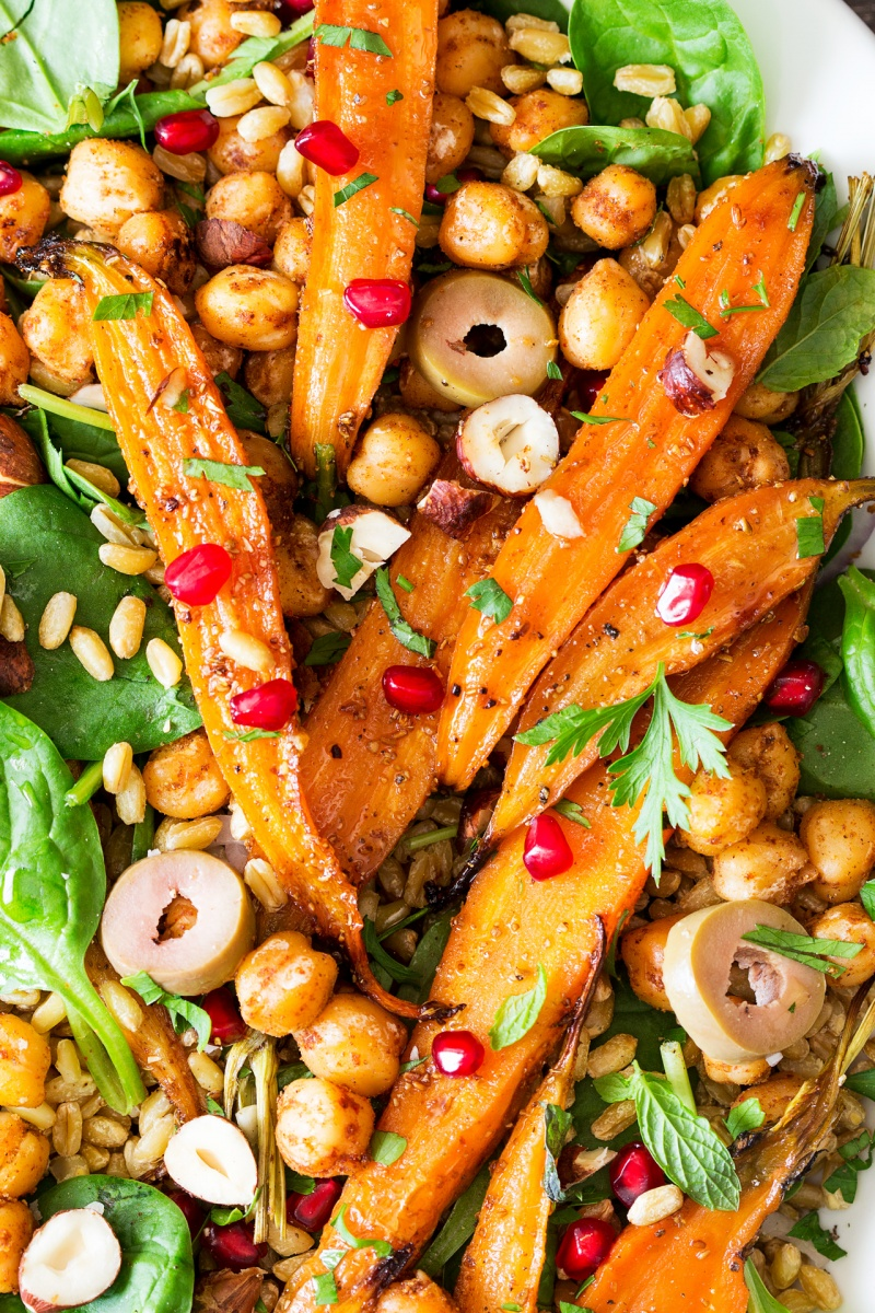 spiced carrot and chickpea salad close up