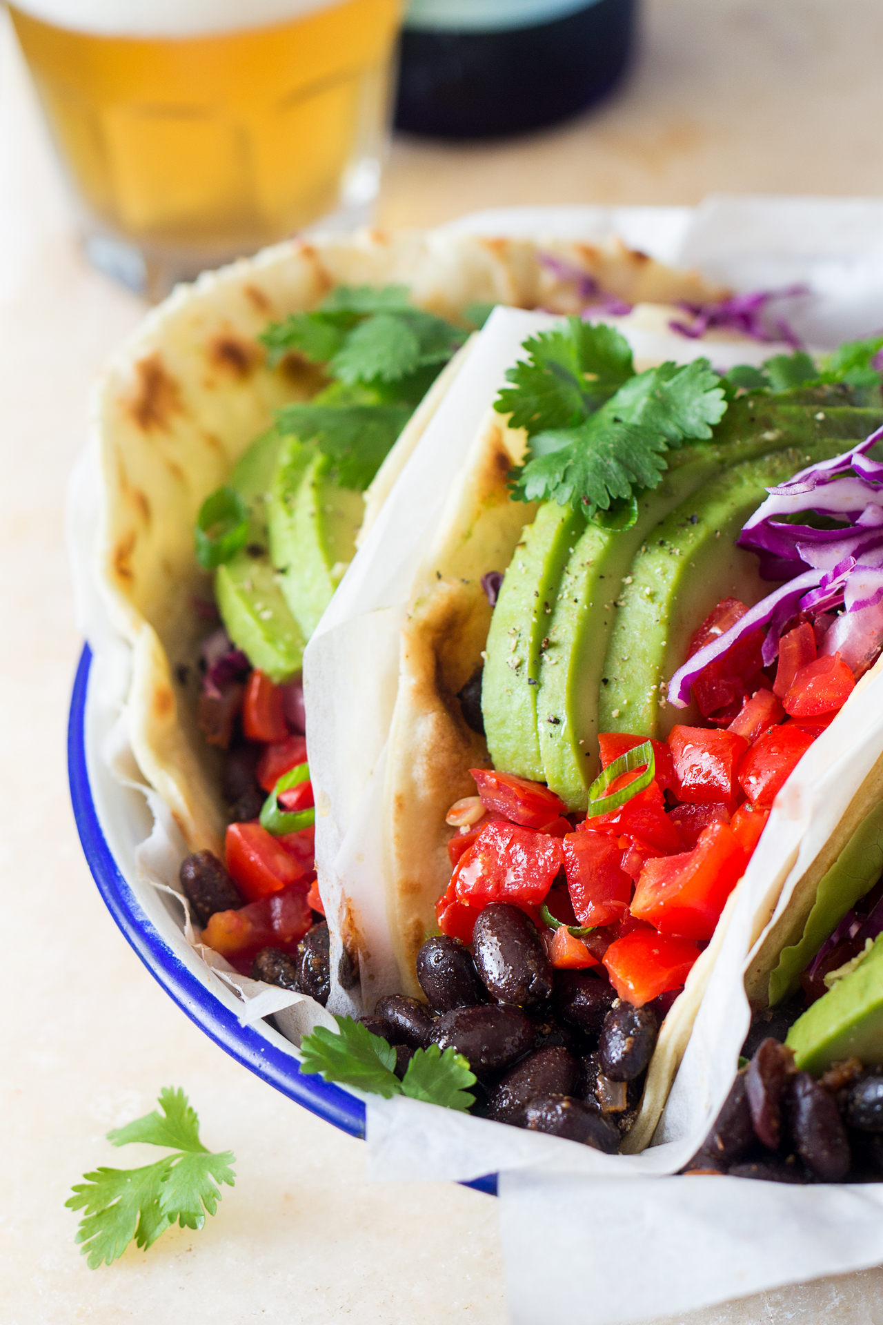 Vegan black bean tacos - Lazy Cat Kitchen
