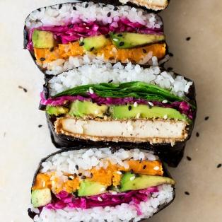 vegan onigirazu stack