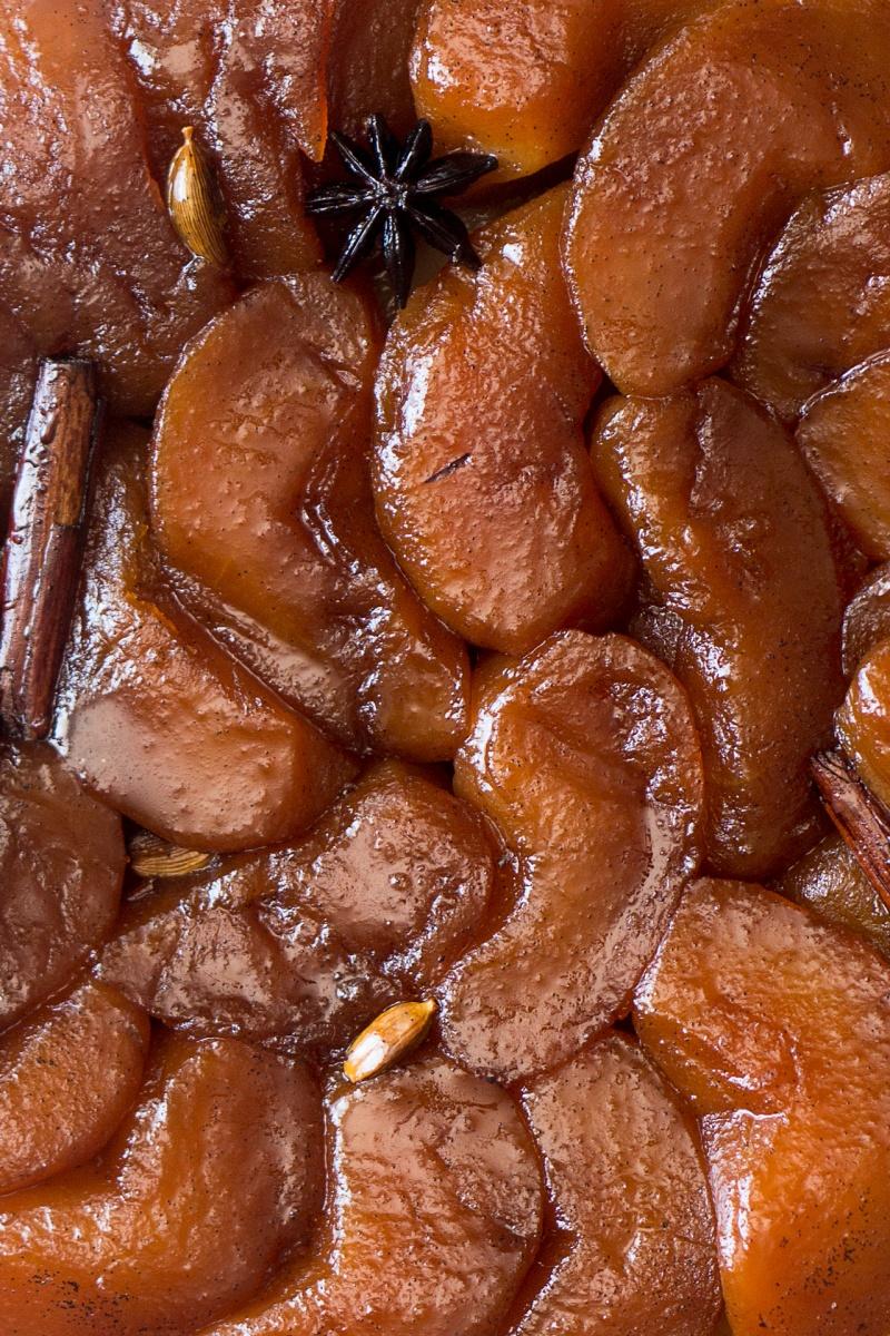 vegan tarte tatin apples after baking