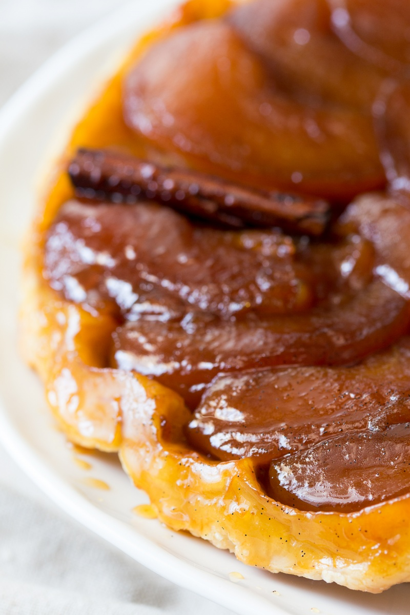 vegan tarte tatin pastry close up