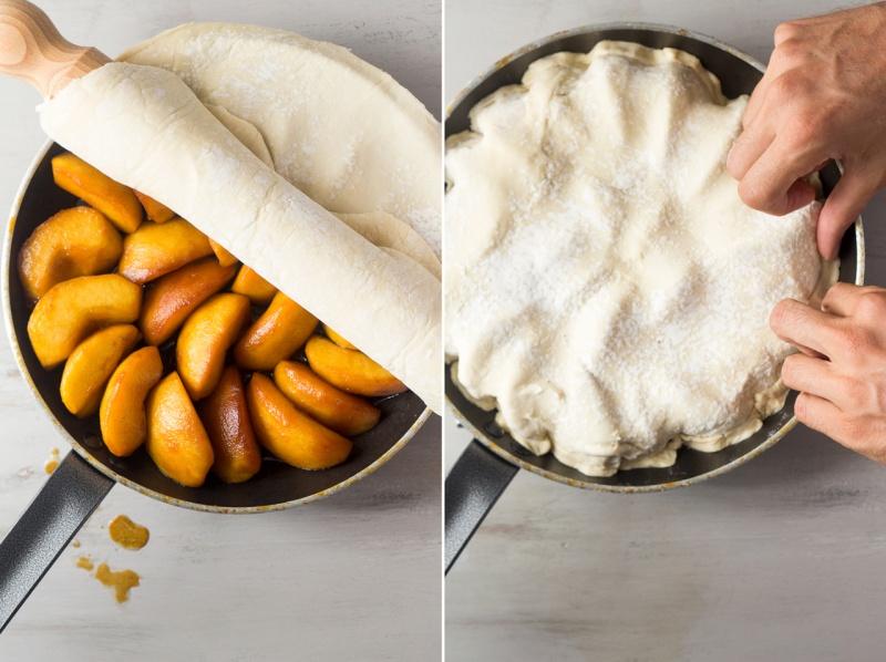 vegan tarte tatin rolling out pastry