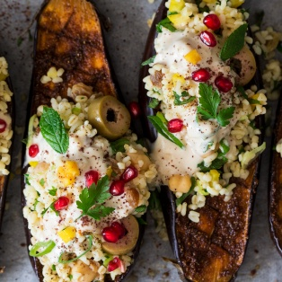 aubergine with bulgur wheat and tahini portion