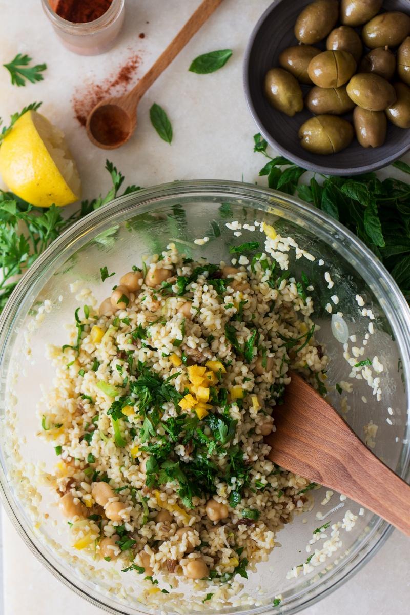 bulgur wheat salad mixing