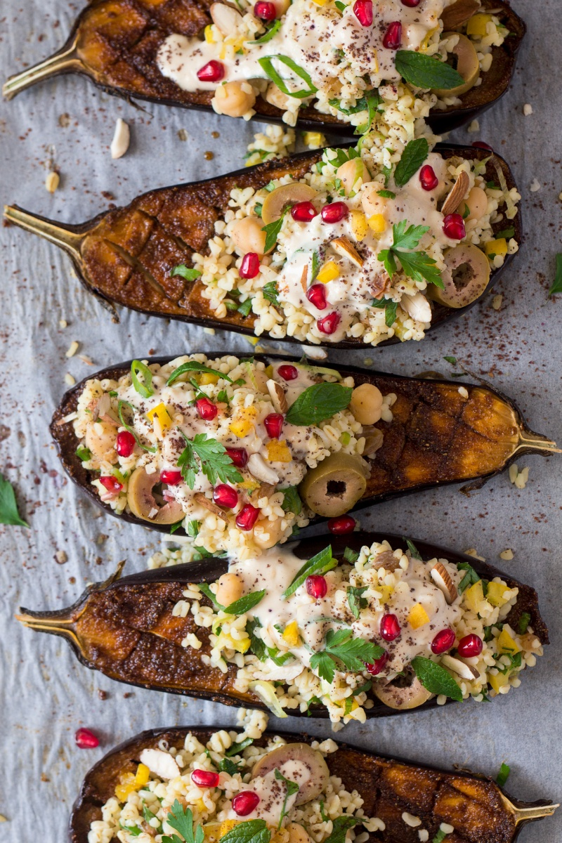 tray aubergine bulgur wheat tahini