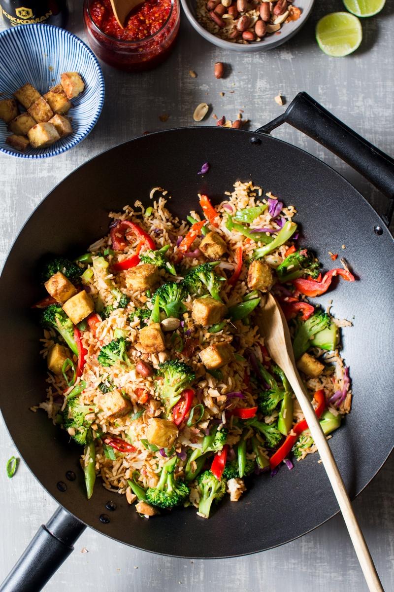 vegan nasi goreng in a wok