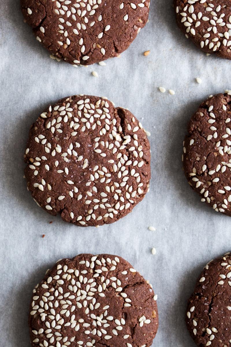 chocolate tahini cookies close