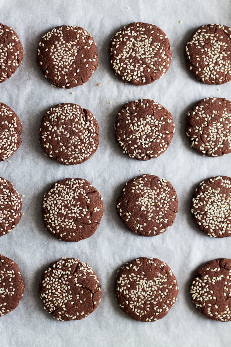 chocolate tahini cookies top down