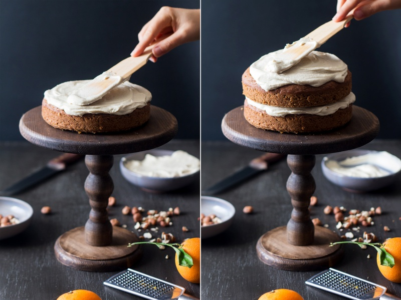 vegan carrot cake applying frosting