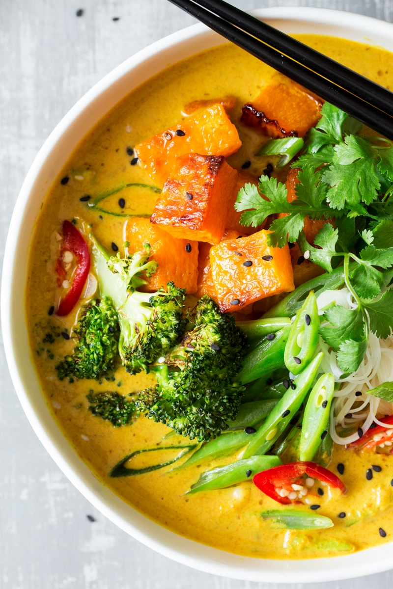 vegan khao soi soup close up
