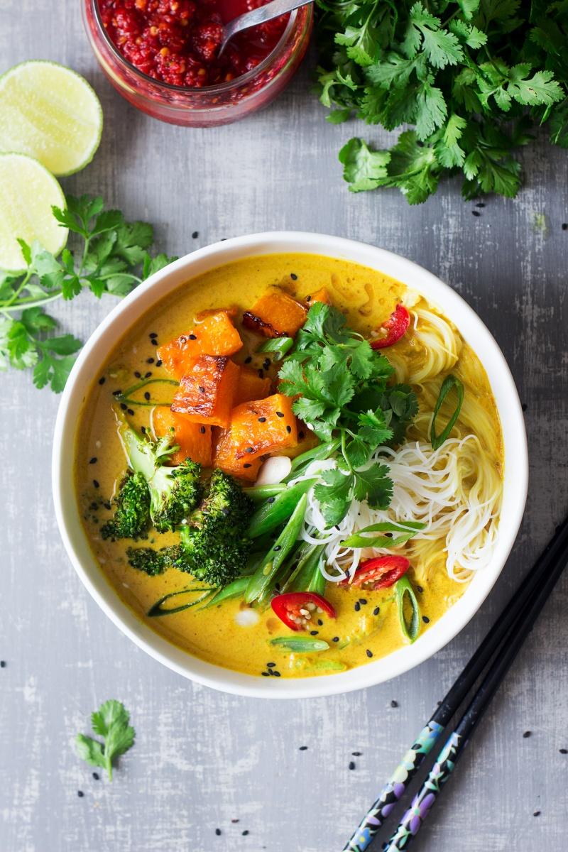 vegan khao soi soup top down